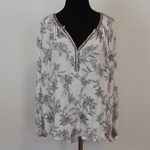 Amuse Society floral beaded neck blouse